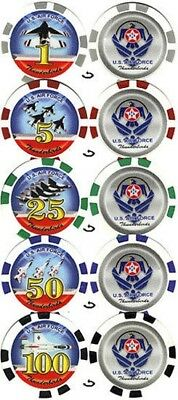 5 US Air Force Thunderbirds Poker Chips Collector Set Denominations FREE SHIP *