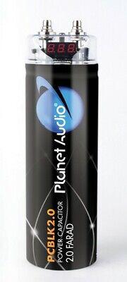 Planet Audio Pcblk20 2.0 Farad Capacitor Digital Volt Meter Black