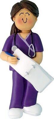 FEMALE BROWN HAIR SCRUBS NURSE HOME HEALTH AID DOCTOR ASSISTANT ORNAMENT GIFT (Nurse Ornaments)