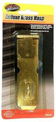 (Deluxe Brass Metal Latch Hasp Padlock Door Guard Security Lock Exterior Interior)