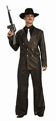 20s Style Suit (Gangster Suit 20's-30's Double Breasted Style Blk/Gd Pinstripe Costume Suit XL )