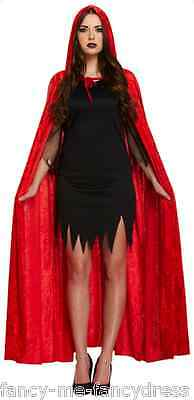 Damen Lang Rotkäppchen Vampir Halloween Mantel Umhang Maskenkostüm