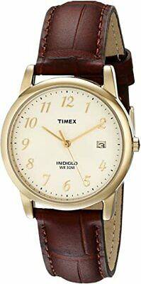 Timex Men's Easy Reader T2M4419J Date Leather Strap Watch Beige Dial 35mm