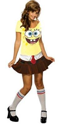 Womens Adult Sexy Spongebob Squarepants Sponge Babe Costume Outfit (Spongebob Costume Women)