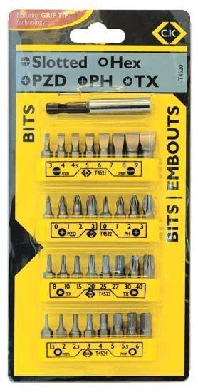 CK 33 piece Screwdriver Bit & Holder Set Slotted Pozi Phillips Hex & Tx T4520