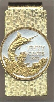 Bahamas Blue Marlin Coin Hinged Money Clip 2-Toned Gold on Silver 120MC Coin Hinged Money Clips