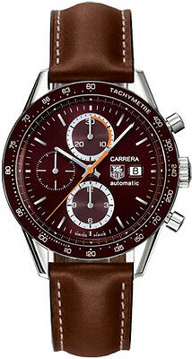 AUTHENTIC TAG HEUER CARRERA CV2013.FC6234 AUTO CHRONOGRAPH BROWN LEATHER WATCH