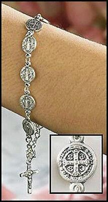 Silver Gilded Catholic Patron Saint St. Benedict Exorcism Medal Bracelet Protect