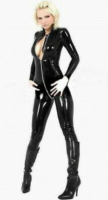 BLACK SHINY PVC CATWOMAN FANCYDRESS CATSUIT - ALL SIZES - All Catwoman Costumes