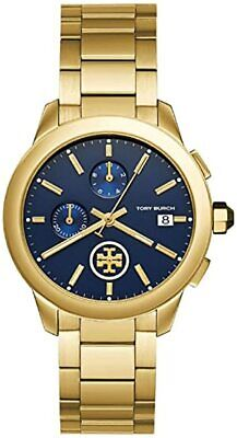 Tory Burch TBW1251 Collins Chronograph Blue Dial Gold Tone Stainless Steel Watch