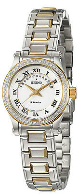 Seiko SXD774 Premier Mother Of Pearl Dial 48 Diamonds Two Tone Womens Watch $895