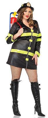 Fire Fighter Costume, Leg Avenue 83230X, Adult Women's 2 Piece, Plus Size - Plus Size Fire Woman Costume