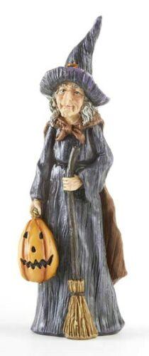 "NEW!! Festive Autumn HALLOWEEN 9 1/2"" Resin WITCH WITH PUMPKIN Figurine Sitter"