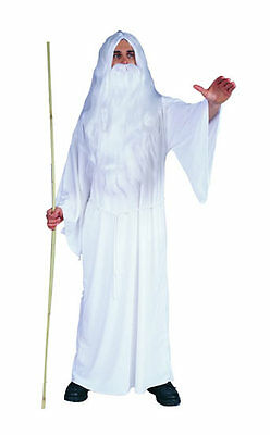 WHITE WIZARD ADULT MENS COSTUME GANDALF MERLIN THE MAGICIAN ROBE DUMBLEDORE (Mens Wizard Costume)