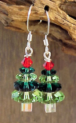 Swarovski Crystal Bead Emerald & Peridot Green Christmas Tree Earrings #5C