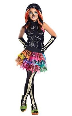 Girls Skelita Calaveras Monster High Costume Size Large 12-14 for 8-10 Year Olds - Costumes For 10 Year Old Girls