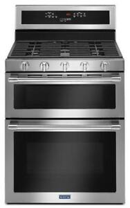 MAYTAG  MGT8800FZ 30-INCH WIDE DOUBLE OVEN TRUE CONVECTION  GAS RANGE ON DISCOUNT (BD-2033)
