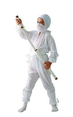 Samurai Kids Kostüme (JAPANESE ASSASSIN SHINOBI SAMURAI WARRIOR WHITE NINJA CHILD BOY KIDS COSTUME)
