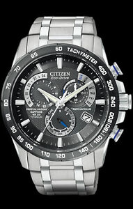 Citizen Men's Titanium Prepetual Chronograph Atomic  Eco Drive Watch AT4010-50E
