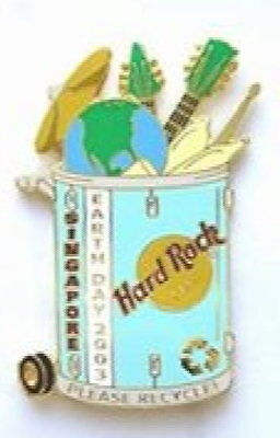 Hard Rock Cafe SINGAPORE 2003 EARTH DAY PIN Garbage Can w/Guitars & Globe #24183 (Garbage Can Rock)