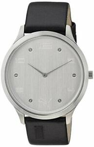 Puma Slim Rim Black Leatherette Silver-Tone Dial Watch