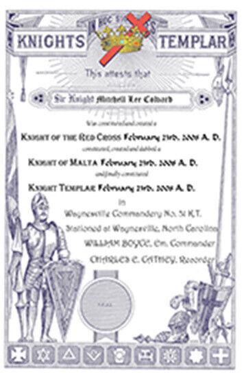 PERSONALIZED Knights Templar Certificate art print ring da vinci davinci code
