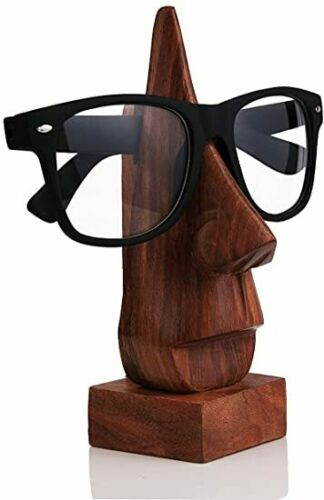 Wooden Eyeglass Spectacle Holder Handmade Nose Shaped Stand for Office