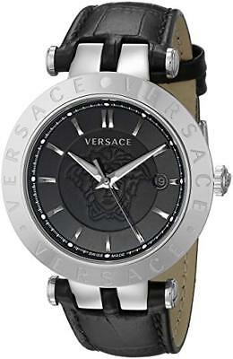 Versace Men's VQP020015 V-RACE 42 mm 3 HANDS Stainless Steel Leather Band Watch