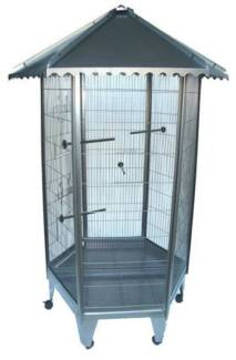 New 6 Sided Large Steel Parrot Aviary Budgie Bird Cage with Wheel
