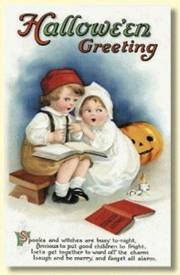 Old Halloween Ghost Stories (10 Old World Christmas Halloween Greeting Cards: GHOST STORIES #89746)