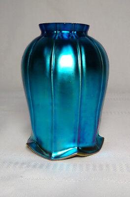 """BLUE FAVRILE AURENE ART GLASS LIGHTING SHADE, 2 1/4"""" FITTER~~"""