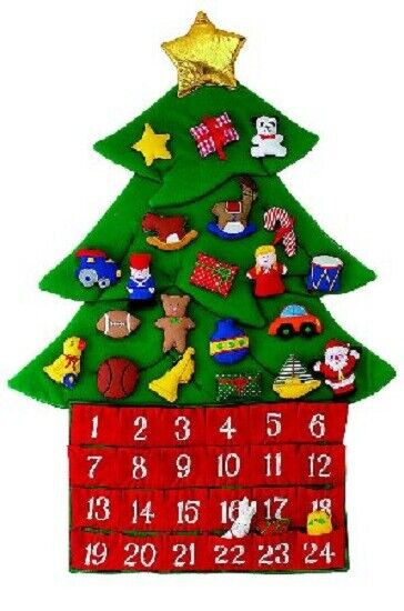 Large Fabric Christmas Tree Advent Calendar 26 inch Holiday Countdown Decoration