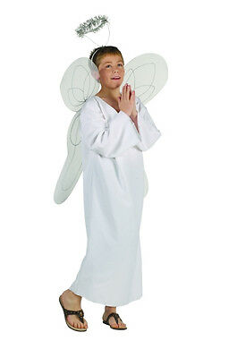 WHITE HEAVENLY ANGEL CHILD BOY COSTUME RELIGIOUS BIBLE CHERUB TUNIC W/ HALO  - Kids Halo Costumes