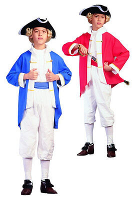 COLONIAL CAPTAIN CHILD COSTUME RED BLUE BOY US HISTORY PLAY COSTUMES 90133