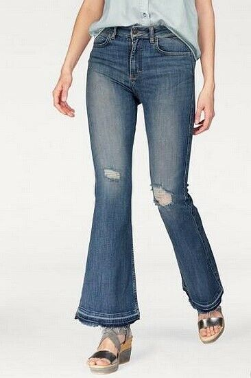 LTB 5519 Flare fit Damen Stretch Jeans Hose Low Schlag W29 L32 used Blau NEU C16