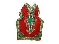 Mogul Interior Womens Kaftan Housedress Red Dashiki Printed Caftan Cover Up Bohemian Dresses