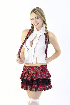 Red Plaid Sexy Naughty School Girl Outfit Adult Halloween Costume - Naughty School Girl Halloween Costumes