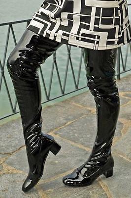 Crotch boots extra langer Overknee Lackstiefel im Stil der 60er Jahre Gr. (60er Jahre Stiefel)