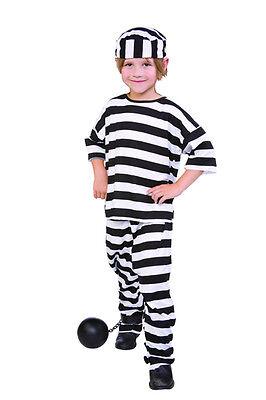 CHILD PRISONER CONVICT BOY JAILBIRD BLACK WHITE STRIPE KIDS GIRLS COSTUME - Kids Prisoner Costume