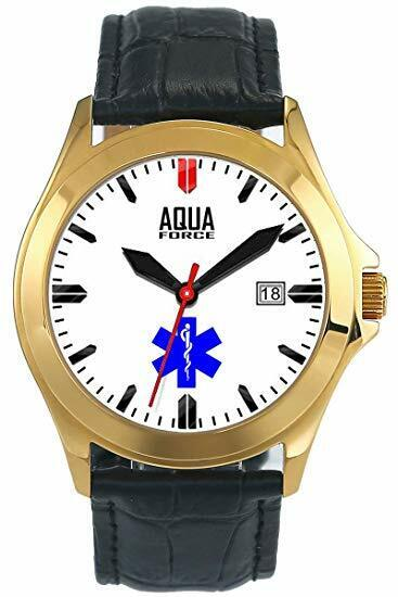 Aquaforce 55EMT Deluxe Leather Strap Analog Watch - Stainless Steel Gold Case