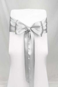 SILVER SATIN CHAIR SASHES FOR RENT