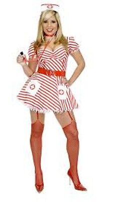 Candy Stripe Nurse White Red Career Dress Up Halloween Sexy Teen Adult Costume