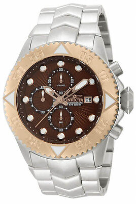 New Mens Invicta 13100 Pro Diver Chronograph Brown Dial Steel Bracelet Watch