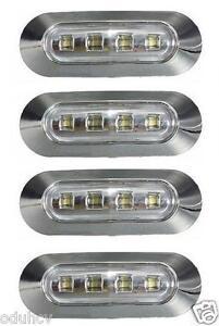 4x-4-LED-Lateral-Blanco-Cromo-Bisel-Luz-de-senalizacion-para-el-Carro-Bus