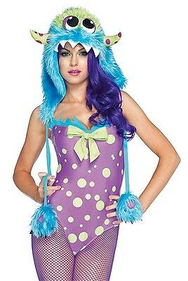 Monster Hood Costume (Flirty Gerty Monster Costume with Hood, Tail, Leg Avenue 85017, 3 Piece Size S)
