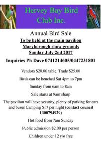 2017 Bird Sale by Hervey Bay Bird Club Inc Pialba Fraser Coast Preview