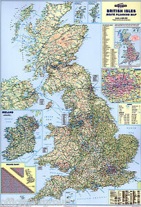 *BRAND NEW* LARGE LAMINATED WALL ROAD MAP POSTER OF GREAT BRITAIN GB UK © MAP117