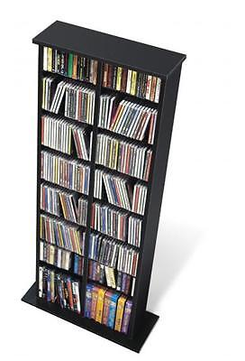 Black Media Storage Tower Double Cabinet Games Multimedia NEW DVD CD PP (Double Cd Tower)