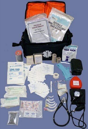 New MedSource Fully Stocked EMT Paramedic Medical Trauma Bag Pack