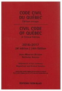 Code civil du Québec 2016-2017 Éditions Yvon Blais